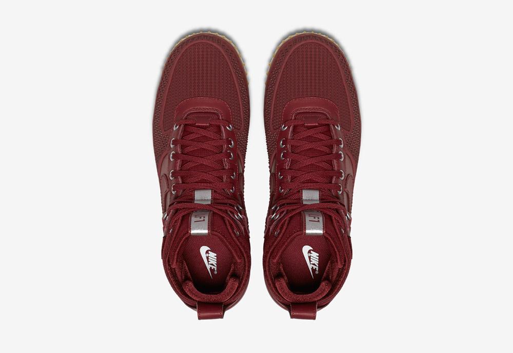 Nike Lunar Force 1 Duckboot — zimní boty — pánské — červené — horní pohled