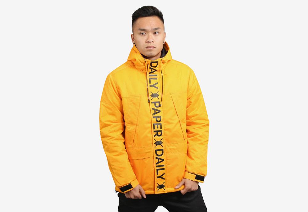 Daily Paper — zimní bunda s kapucí — pánská — žlutá — Puffer Jacket