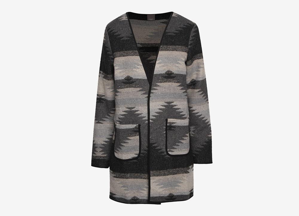 Ichi — dámský kardigan — cardigan — indiánský vzor — černo-šedý