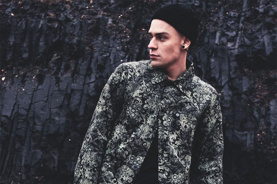 The Hive — podzimní pánská bunda s límečkem — černo-zelená — s rostlinným motivem — pánské oblečení — podzim/zima 2016