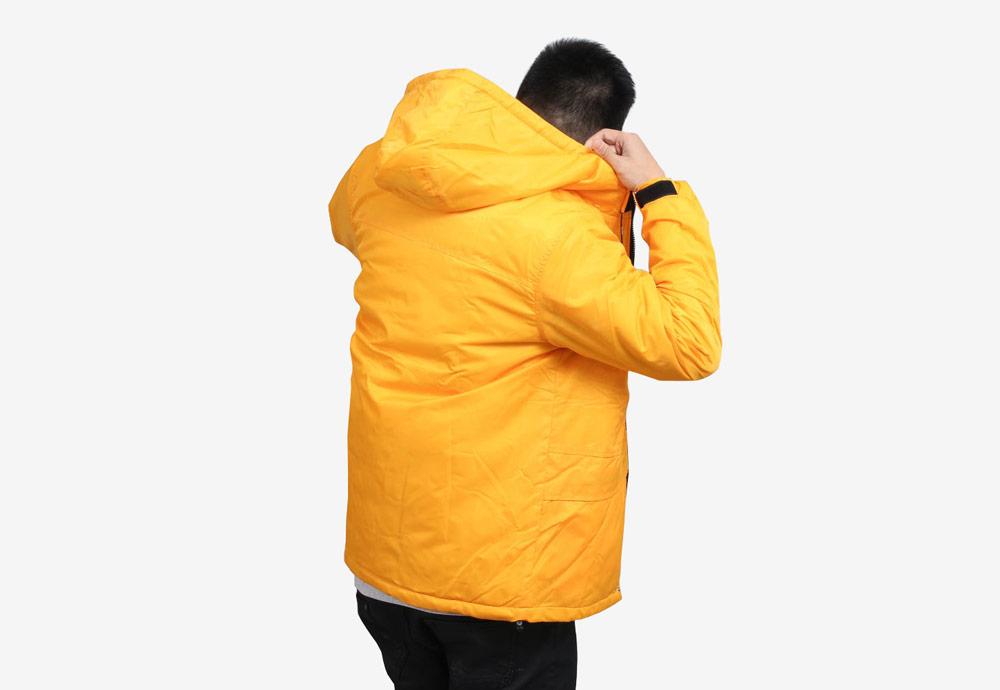 Daily Paper — pánská zimní bunda s kapucí — žlutá — Puffer Jacket