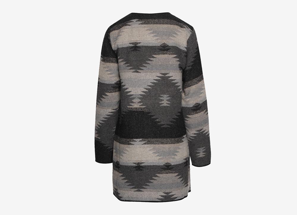 Ichi — dámský cardigan — kardigan — indianský vzor — černo-šedý