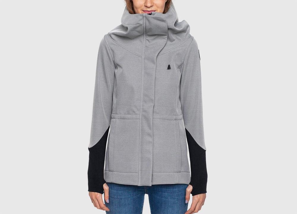 Pinetime — dámská softshellová bunda s kapucí — šedá — Southsider