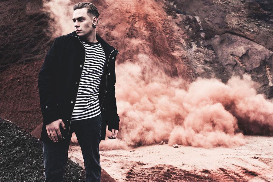 The Hive — černá zimní bunda s kapucí — pánská — vlněná — pánské oblečení — podzim/zima 2016