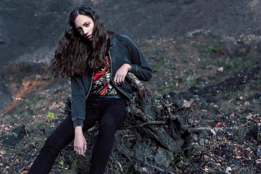 The Hive — šedý modrý dámský džínový bomber — krátká bunda do pasu — bomber jacket — dámské oblečení — podzim/zima 2016
