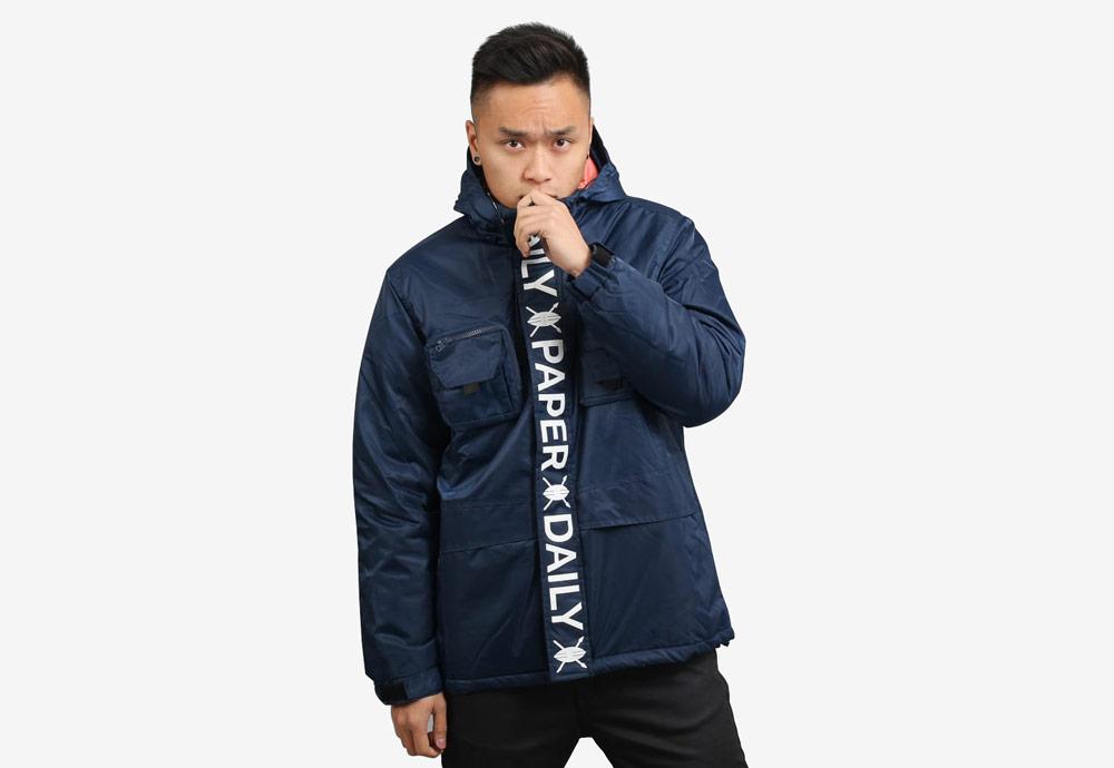Daily Paper — zimní bunda s kapucí — pánská — modrá, navy — Puffer Jacket