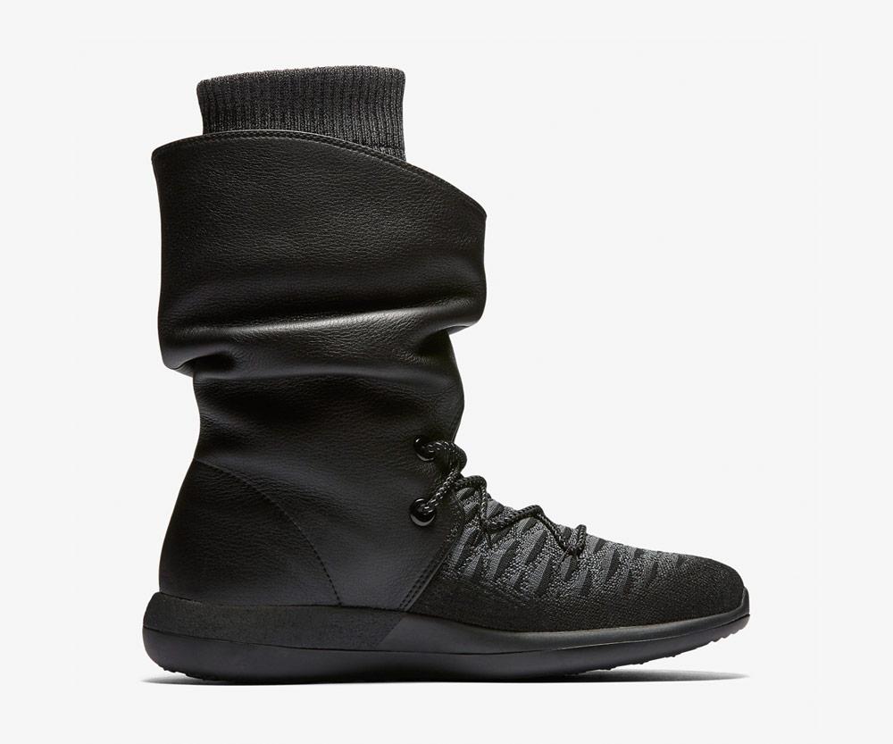 Nike Roshe Two Flyknit Hi — dámské zimní boty — kotníkové — vysoké — voděodolné — sneakers — černé