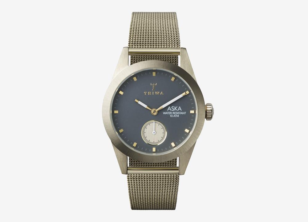Triwa Aska — Birch — dámské hodinky — náramkové — ručičkové — ocelové — stříbrné — zlatý ciferník