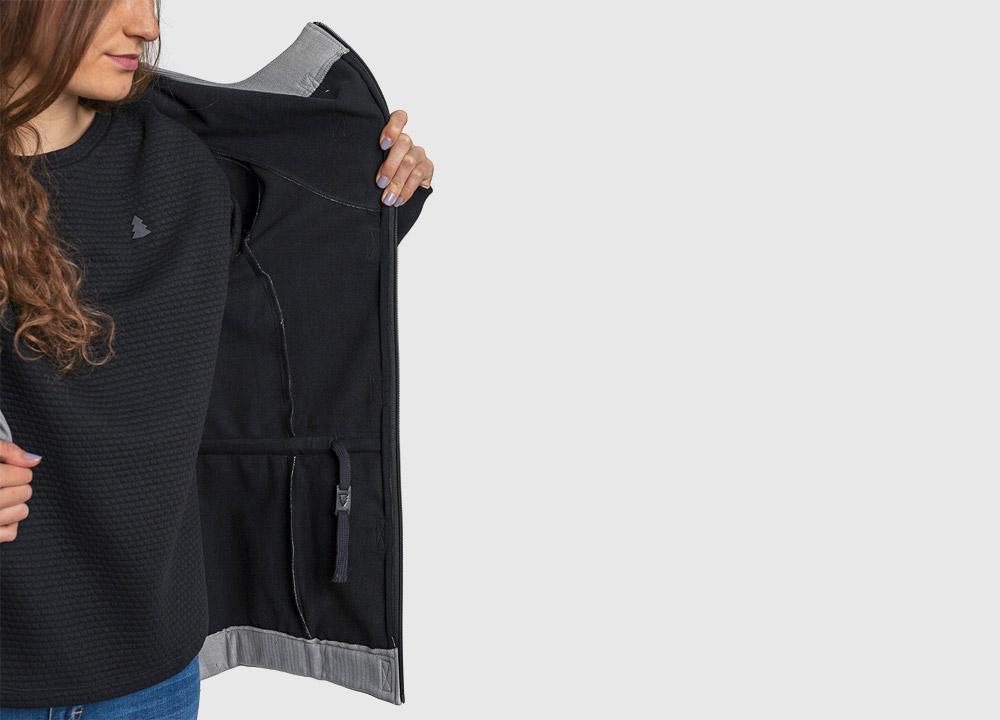 Pinetime — dámská softshellová bunda s kapucí — vnitřní detail — šedá — Southsider