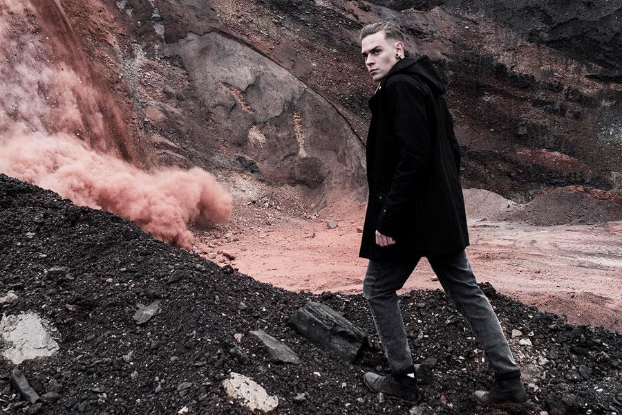 The Hive — vlněná zimní bunda s kapucí — černá — pánská — pánské oblečení — podzim/zima 2016