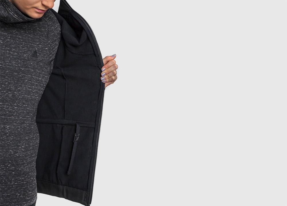 Pinetime — dámská softshellová bunda s kapucí — vnitřní detail — černá — Southsider