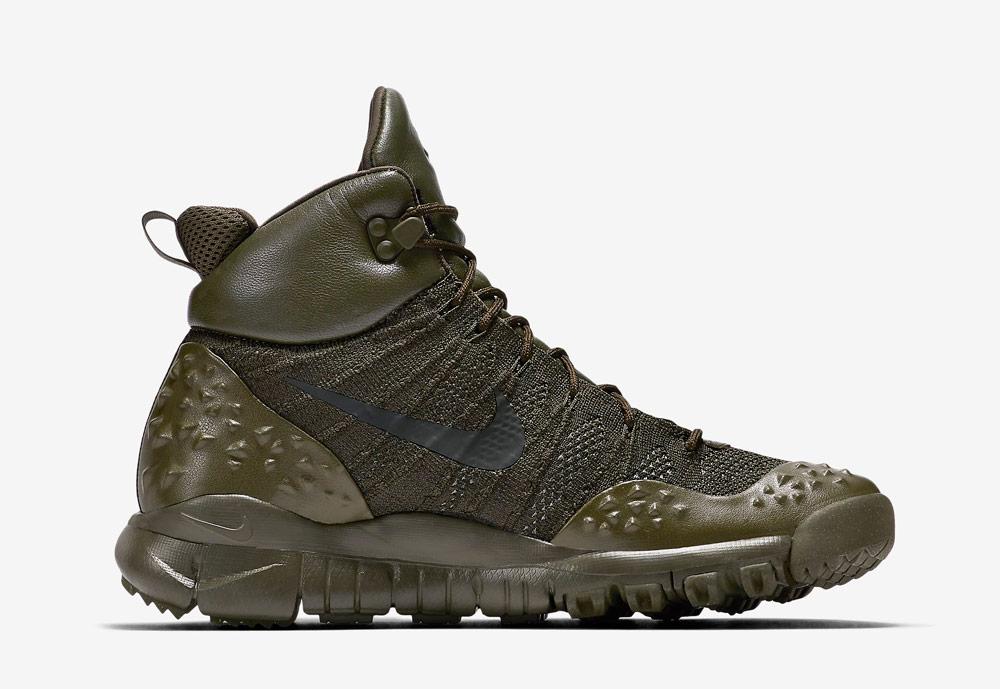 Nike Lupinek Flyknit — zimní boty — kotníkové — sneakers — hnědo-zelené, army green, olivové — pánské