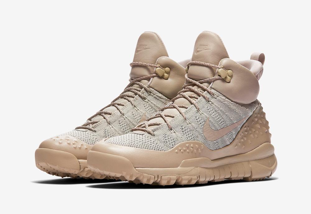 Nike Lupinek Flyknit — zimní boty — kotníkové — sneakers — béžové — dámské