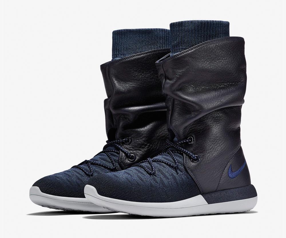 Nike Roshe Two Flyknit Hi — dámské zimní boty — kotníkové — vysoké — voděodolné — sneakers — černo-modré