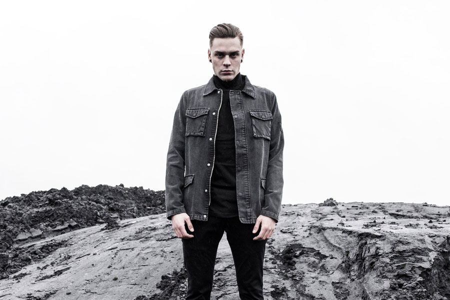 The Hive — podzimní pánská bunda s límečkem — džínová (jeansová) — šedá — pánské oblečení — podzim/zima 2016