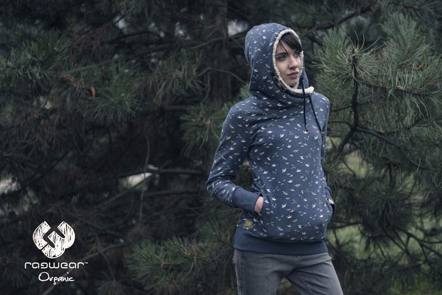 Ragwear — dámská mikina s kapucí s košíškem — modrá — symboly ptáků — podzim/zima 2016