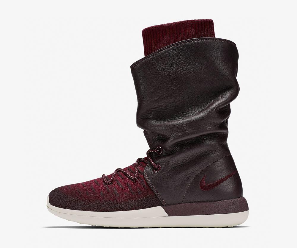 Nike Roshe Two Flyknit Hi — dámské zimní boty — kotníkové — vysoké — voděodolné — sneakers — hnědo-červené