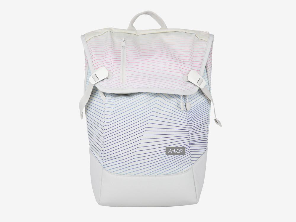 Aevor — Daypack — batoh — městský — školní batoh pro studenty — bílý, barevné křivky