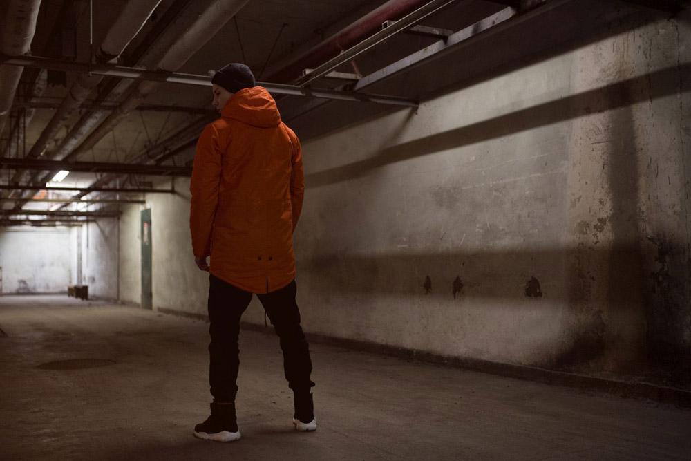 Backyard Cartel — dlouhá zimní bunda s kapucí — parka — oranžová — pánská — podzim/zima 2016