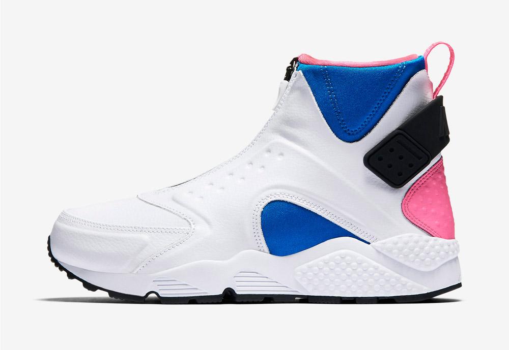 Nike Air Huarache Mid Premium — kotníkové boty — dámské — sneakers — bez tkaniček — barevné — bílé
