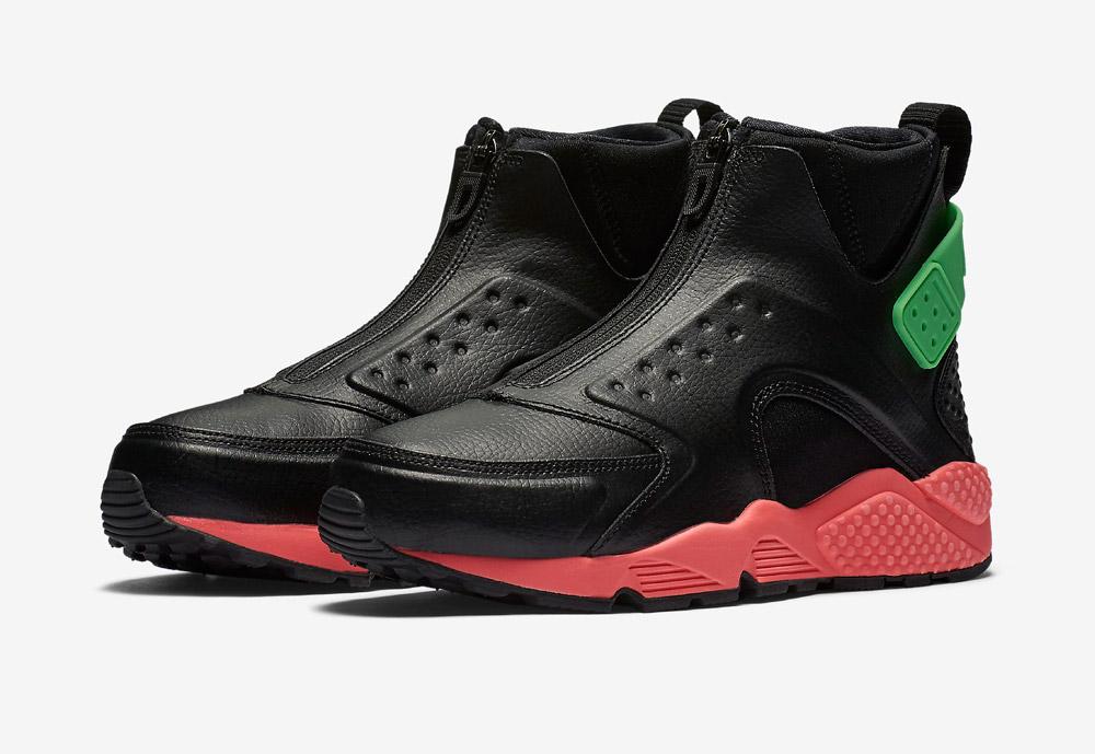 Nike Air Huarache Mid Premium — kotníkové boty — dámské — sneakers — bez tkaniček — barevné — černé