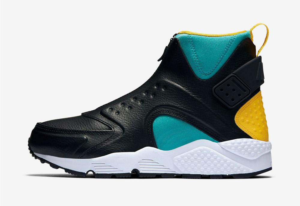 Nike Air Huarache Mid Premium — kotníkové boty — dámské — sneakers — bez tkaniček — barevné — zeleno-černé