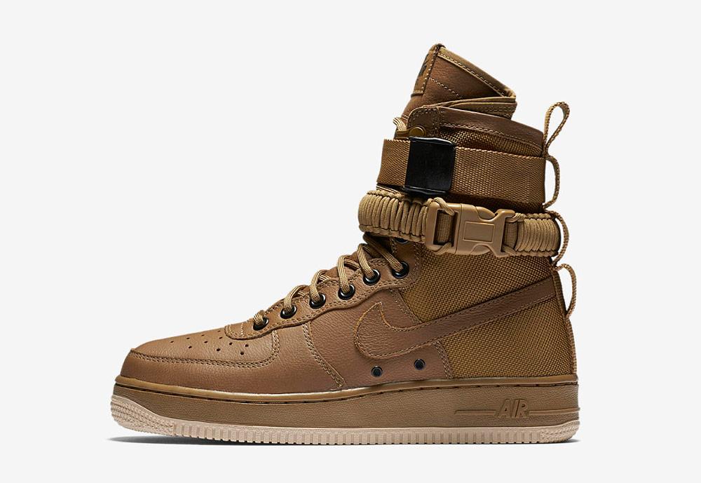 Nike Special Field Air Force 1 — dámské boty — kotníkové — sneakers — vysoké — hnědé
