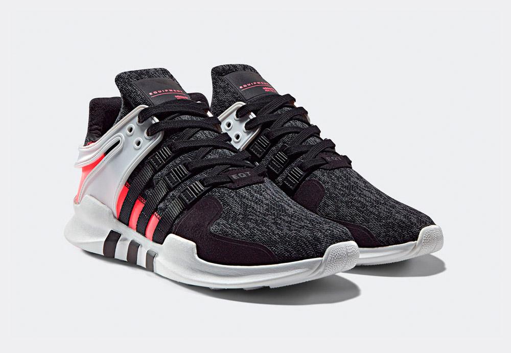 adidas Originals — EQT Support ADV — boty — tenisky — sneakers — bílo-černé, křiklavě červené detaily