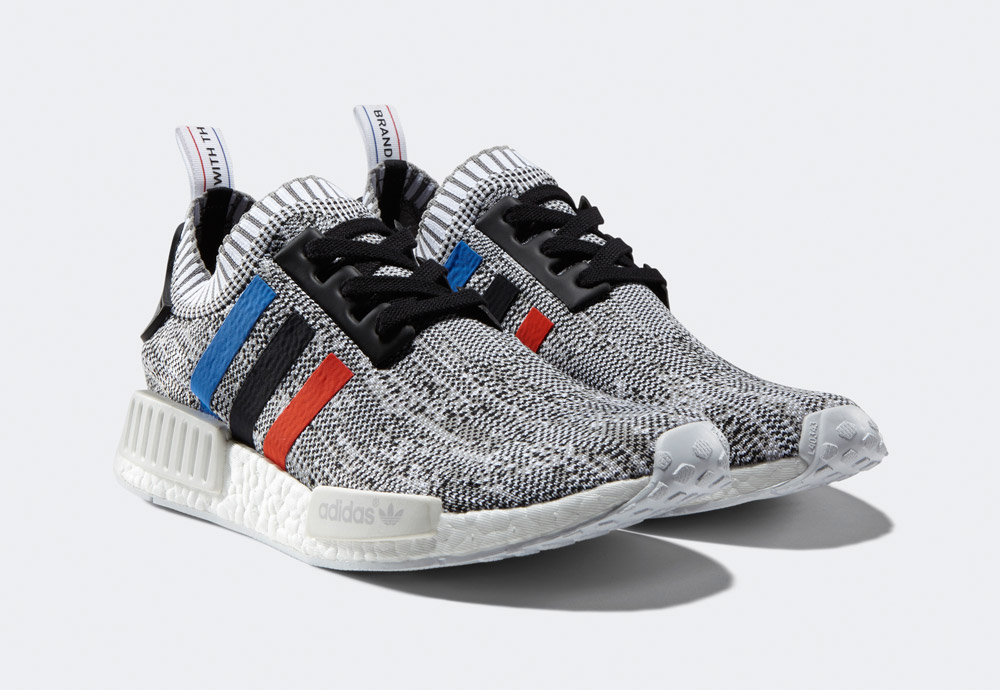 adidas Originals NMD_R1 PK Tri-Color Pack — boty — tenisky — sneakers — pánské — šedo-bílé — barevné proužky