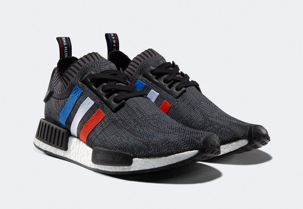adidas Originals NMD_R1 PK Tri-Color Pack — boty — tenisky — sneakers — pánské — tmavě šedé, černé — barevné proužky