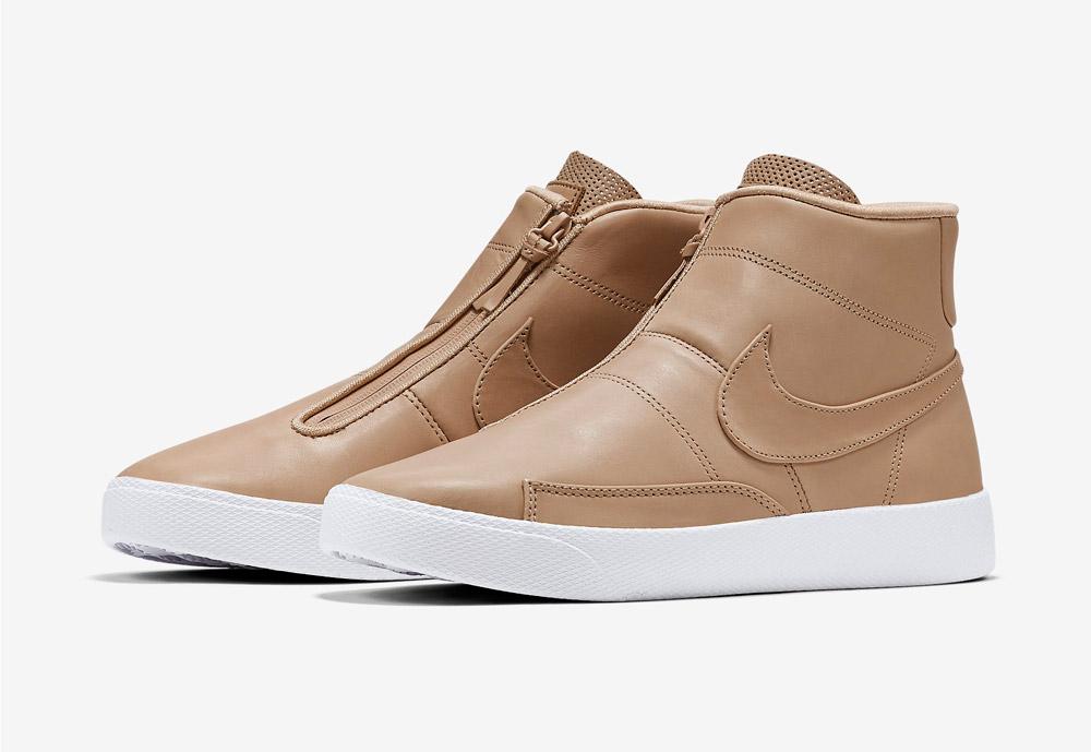 Nike Blazer Advanced — pánské kotníkové boty — bez tkaniček — sneakers — béžové, světle hnědé