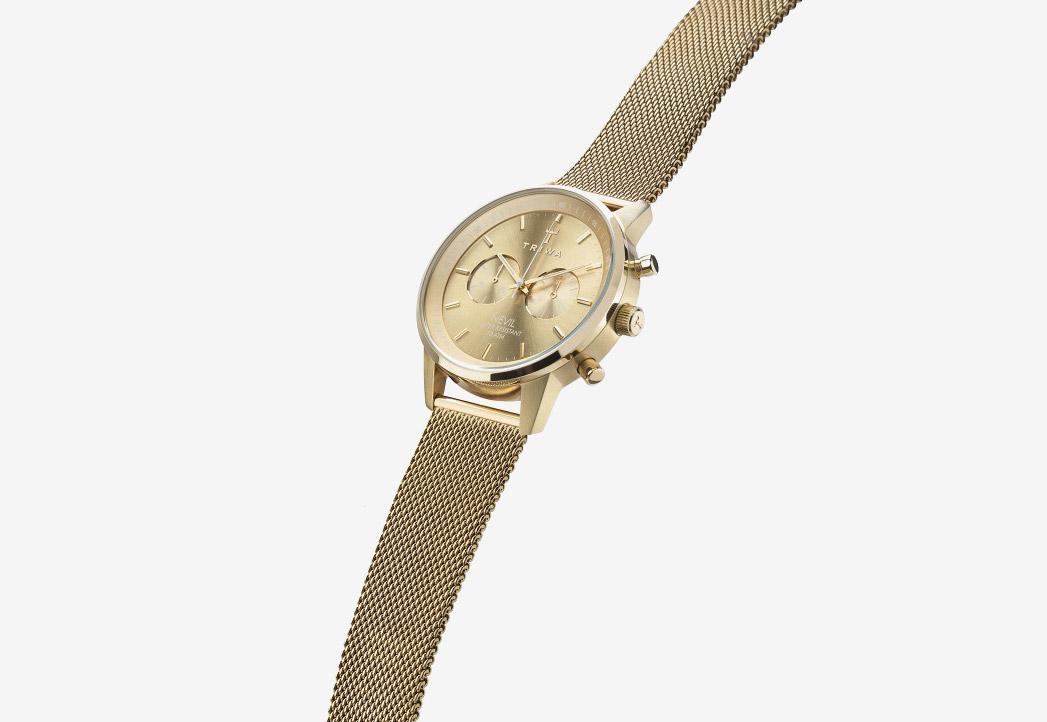 Hodinky Triwa — Gold Nevil 2.0 — náramkové hodinky — dámské a pánské — pozlacený náramek a pouzdro — luxusní, zlaté