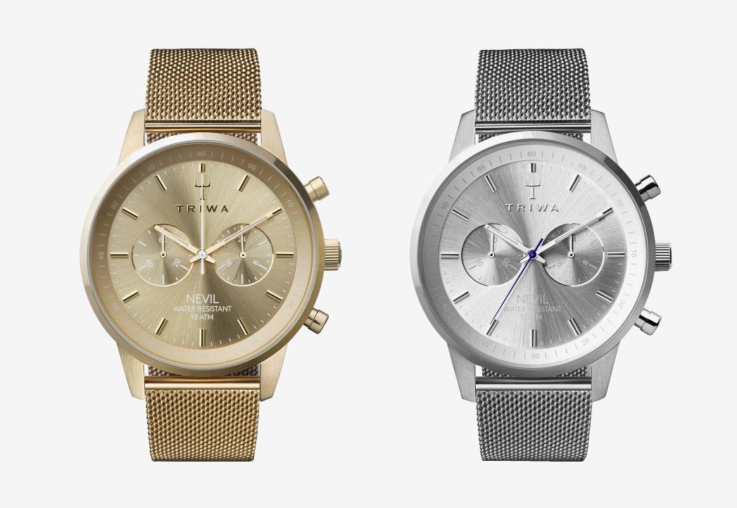Hodinky Triwa — Gold Nevil 2.0, Stirling Nevil 2.0 — náramkové hodinky — dámské — luxusní, stříbrné, zlaté