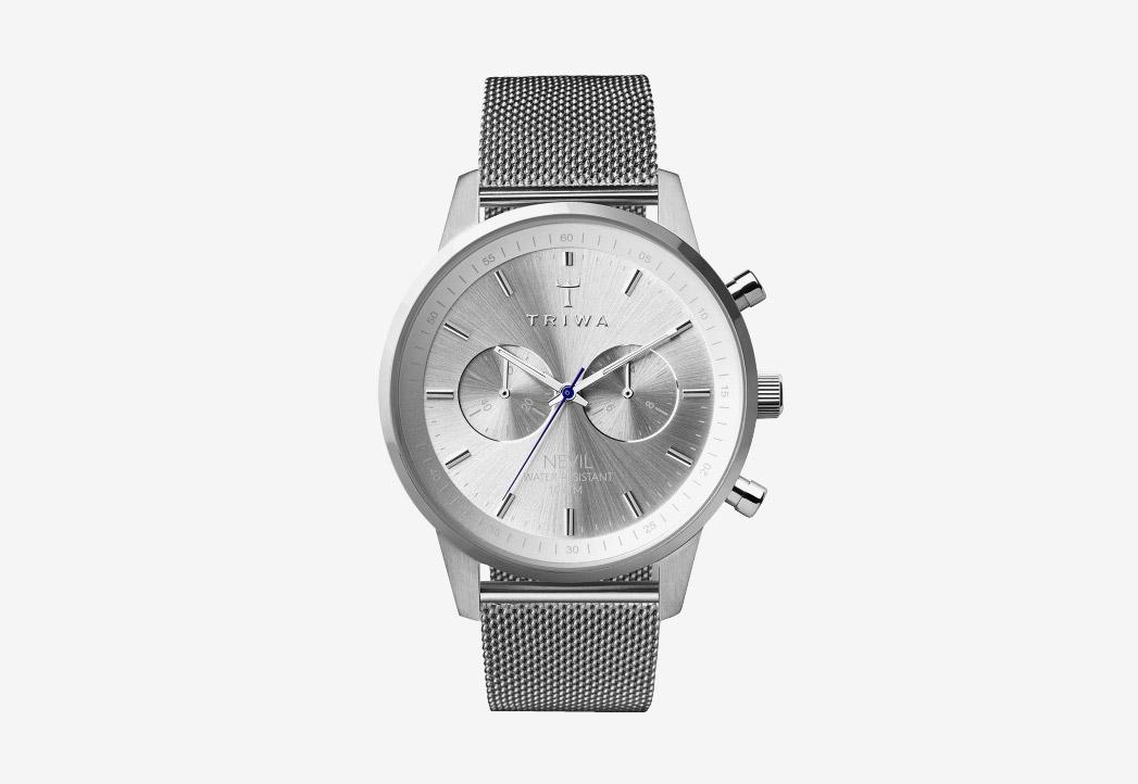 Hodinky Triwa — Stirling Nevil 2.0 — náramkové hodinky — dámské a pánské — stříbrný náramek a pouzdro — luxusní, stříbrné