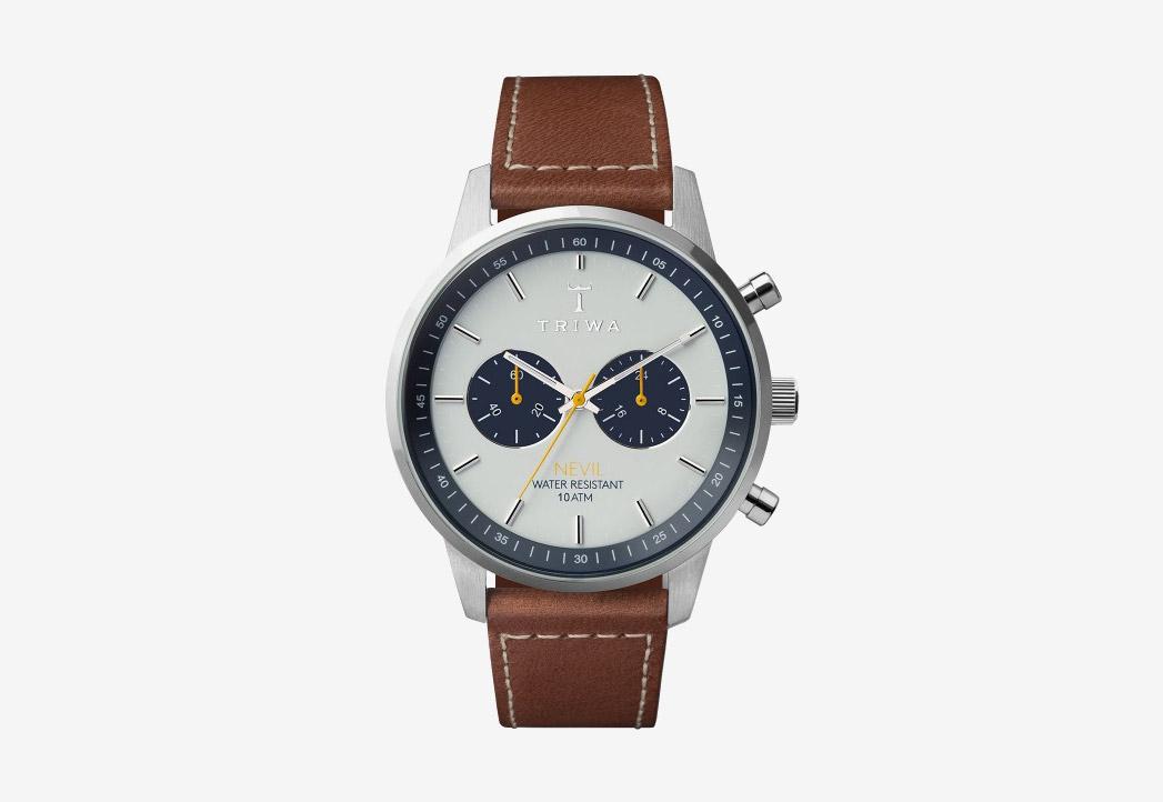 Triwa Ocean Nevil 2.0 — naramkove hodinky — damske — panske — modro-sedy cifernik — hnedy reminek — ocelove pouzdro