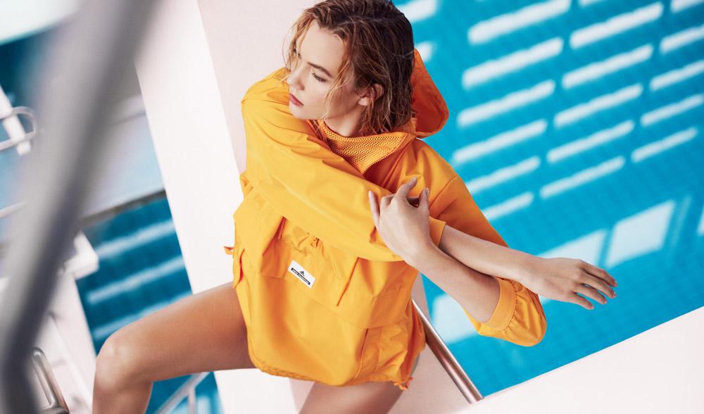 adidas x Stella McCartney — jaro/léto 2017 — dámské sportovní oblečení — žlutý pullover s kapucí