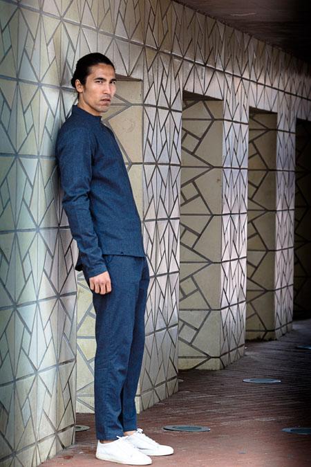 Anerkjendt — modrá bunda na zip — pánské modré kalhoty, krátké