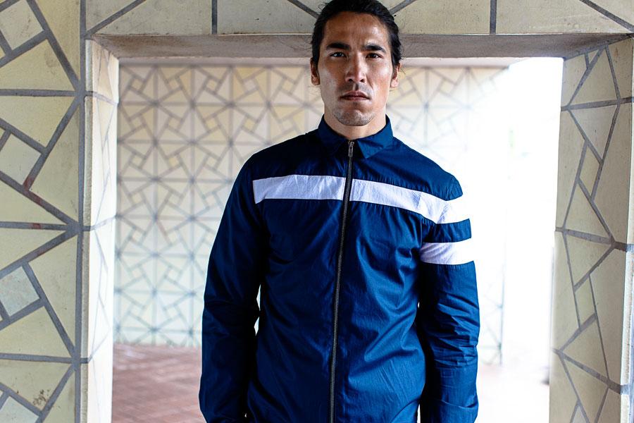 Anerkjendt — pánská jarní bunda s límečkem — modrá