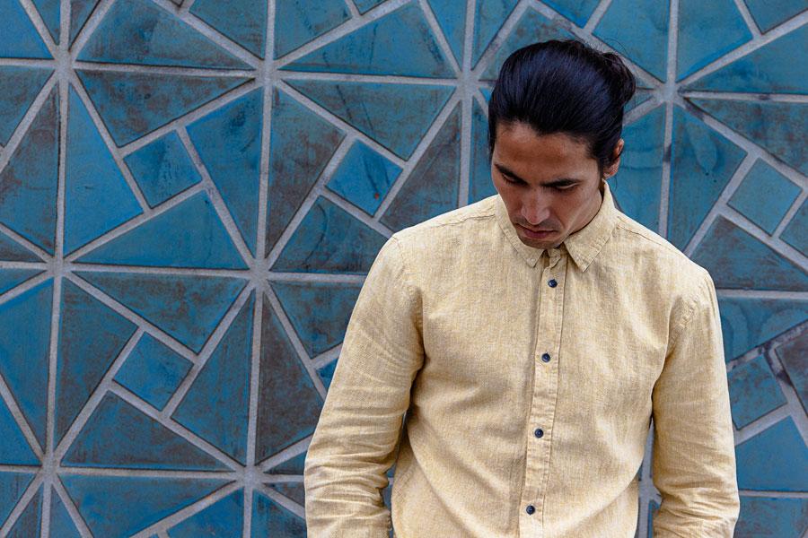 Anerkjendt — pánská košile — světle okrová — dlouhé rukávy