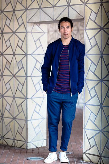 Anerkjendt — pánská modrá bunda do pasu — krátké modré kalhoty