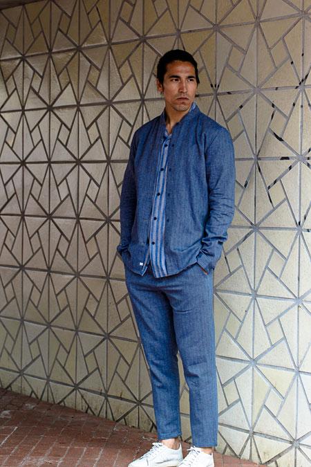 Anerkjendt — pánská modrá jarní bunda bez límečku — krátké modré kalhoty ... 7cce9be14ba