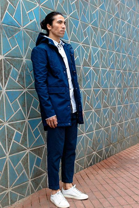 Anerkjendt — pánská modrá parka s kapucí — pánské krátké modré kalhoty