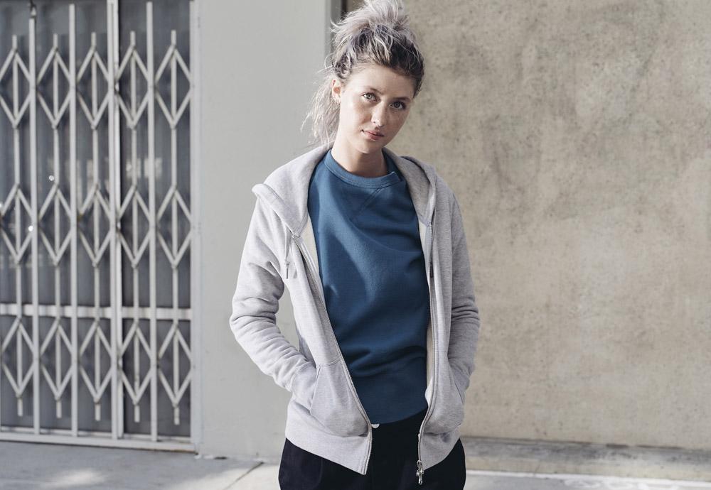 Converse Essentials — dámská šedá mikina na zip s kapucí — modrá mikina bez kapuce