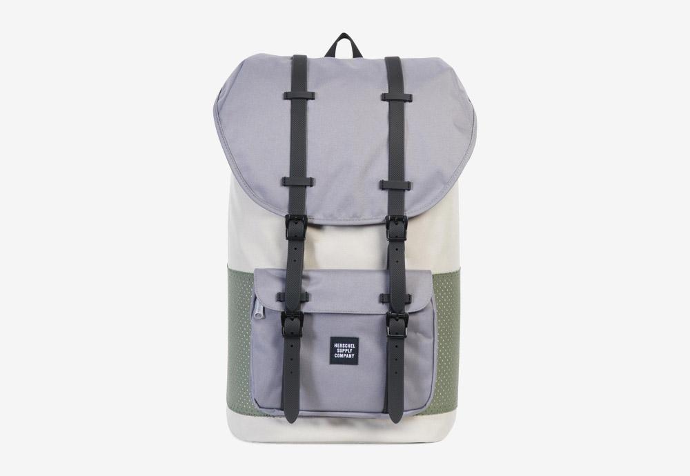 Herschel Supply — batoh — Little America Backpack — Pelican/Deep Lichen Green — zelený, krémový, fialový
