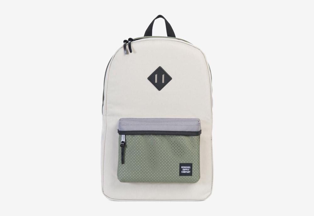 Herschel Supply — batoh — Heritage Backpack — Pelican/Deep Lichen Green — zelený, krémový, fialový