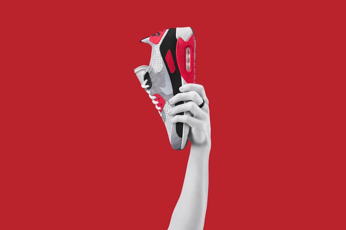 Nike Air Max 90 Ultra Flyknit — boty — tenisky — sneakers — černo-šedé, vzorované — Nike Air Max Day 2017
