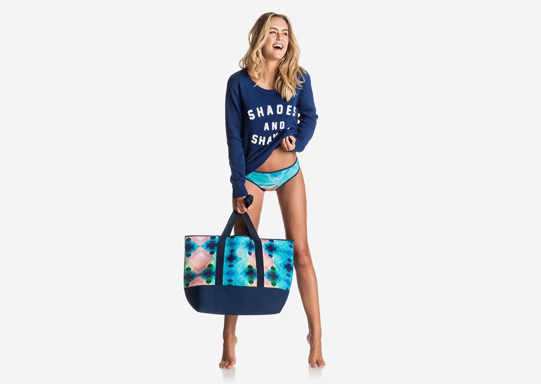 Roxy — jednodílné plavky, dámské — surfařské — modré — Pop Surf 2017 — swimwear