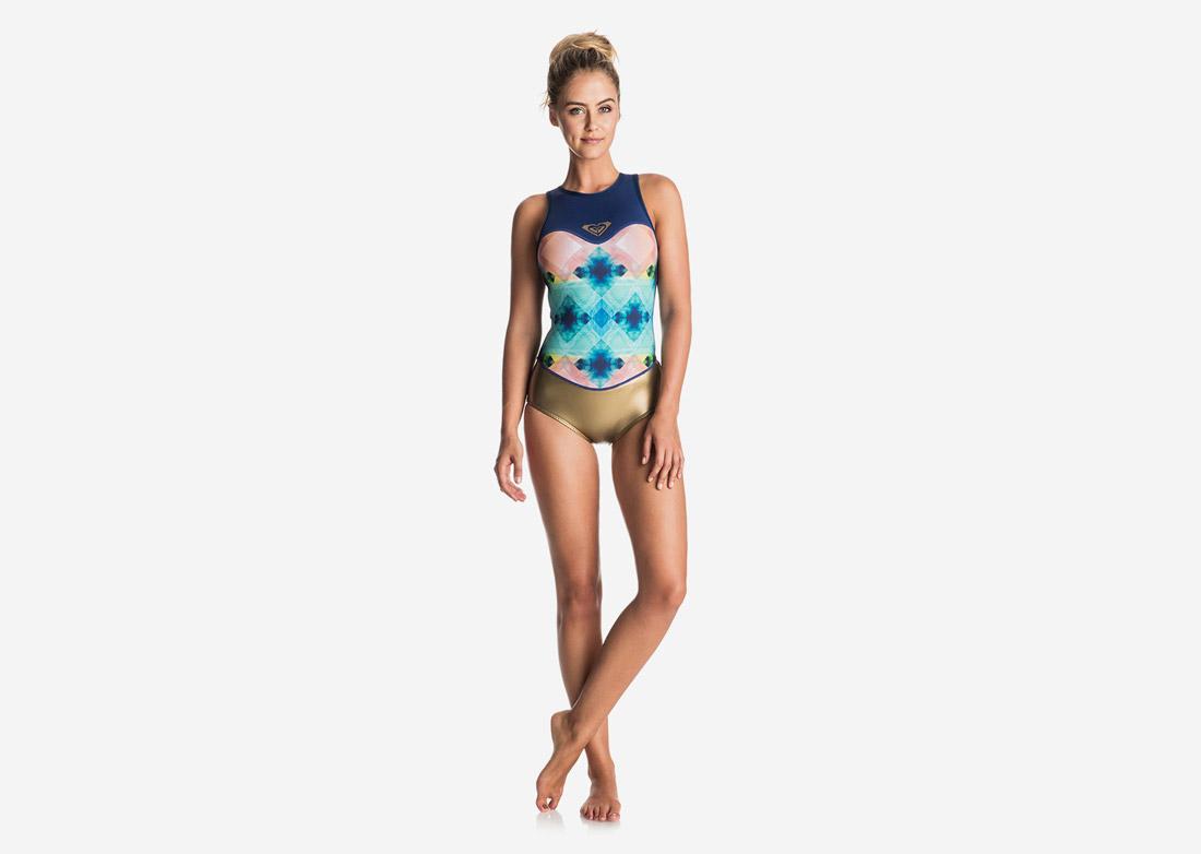Roxy — jednodílné plavky, dámské — neoprenové — surfařské — modré, zlaté, barevné — Pop Surf 2017 — swimwear