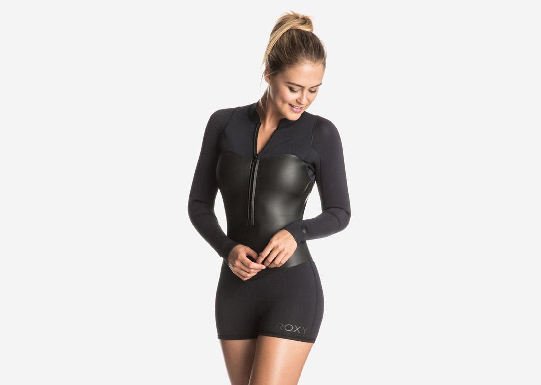 Roxy — neoprenové plavky, dámské, jednodílné — surfařské — černé — Pop Surf 2017 — swimwear