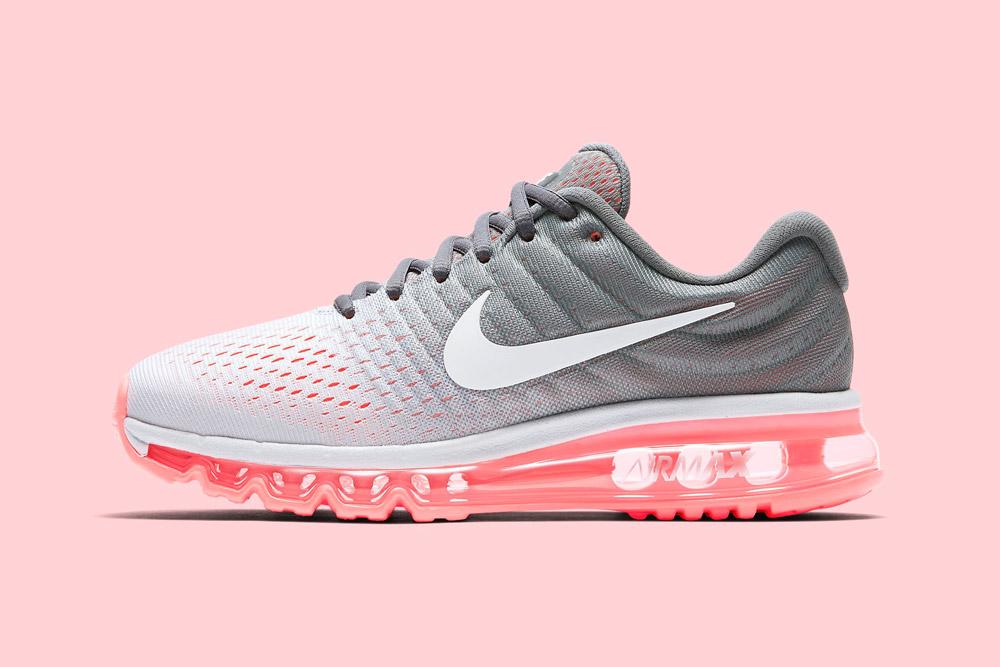 Nike Air Max 2017 — dámské běžecké boty — tenisky — sneakers — šedé, růžovo-oranžové (pink, orange, lava, grey)